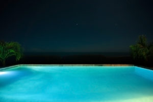 Out of the Blue pool at night